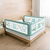 WZFANJIJ Bettgitter,Tragbares Bettgitter für Matratze in voller Größe, Baby Sicherheitszaun Bett mit doppelt Abschließbarer SchnalleKinderbettschutzgitter Rausfallschutz,Green#oneslice-2m