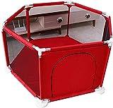 YYhkeby Baby-Laufstall Haushaltskind-Kind-Infant-Play-Zaun-Sicherheitsschutz-Bar Faltbare tragbare Barriere erweiterbar 6-seitig (Farbe: rot, Größe: 70x128x66.5cm) Jialele