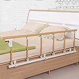 YHIT Bettgitter, Faltbare Tragbare Bett Sicherungsschiene Für ältere Menschen, Erwachsene Unterstützen Griff-Handicap-Bettgeländer Krankenhaus-Metallgriffstoßstange, Gelbe Holzmaserung(Size:6-Speed)