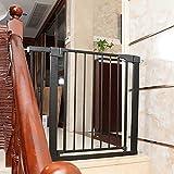 JHAISMAO Schutzgitter Treppe 75-82 | 28 cm Verlängerung/ohne Bohren/Türschutzgitter Metall Selbstschließend | Treppenschutzgitter Türgitter Klemmgitter(Size:75-82cm,Color:Black)