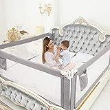 ZEHNHASE Kinderbettgitter, Bettgitter zum vertikalen Heben, Sicherheitsschutz, Bettgitter zum Schutz vor Stürzen für Kleinkinder, Babys und Kinder (120cm, Grau)