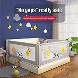 TOPQSC Tragbares Kinderbettgitter Vertikalen Heben Baby Sicherheitsschutz Bettgitter, Schutz vor Stürzen Klappbar Bettgitter Bett für Kleinkinder Babys Kinder Abschließbarer Schnalle (180cm)
