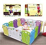 Laufgitter Laufstall Baby Absperrgitter Krabbelgitter Schutzgitter für Kinder aus Kunststoff mit Tür und Spielzeugboard (Klassisch-Set 14-Paneele)