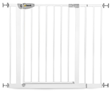 Hauck Türschutzgitter Squeeze Handle Safety Gate 75 cm - 81 cm + 14 cm Verlängerung, weiss -