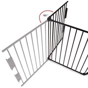KIDUKU® Kaminschutzgitter Metall Laufgitter Laufstall Absperrgitter Türschutzgitter für Kinder-Sicherung, 310 cm Länge, schwarz -