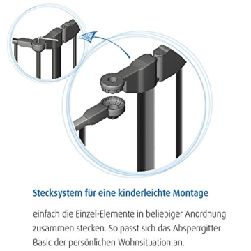 Reer 46702 Absperrgitter Basic 3-teiliges Set zur Absicherung gefährlicher Bereiche von 78.5-207 cm -