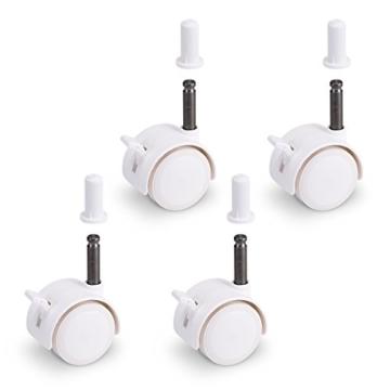 FabiMax 3117 Parkettrollensatz (4 Stück) mit Bremse für Kindermöbel, weiß - 1