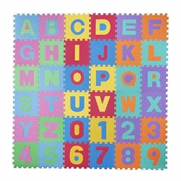 baby vivo eva spielteppich f r kinder 190 x 190 cm mit buchstaben und nommen kinderschutzgitter. Black Bedroom Furniture Sets. Home Design Ideas