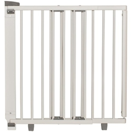 Geuther - Treppenschutzgitter ausziehbar 2734+, für Kinder/Hunde, Türschutzgitter zum bohren, Holz, weiß, 86 - 133 cm, TÜV geprüft - 1